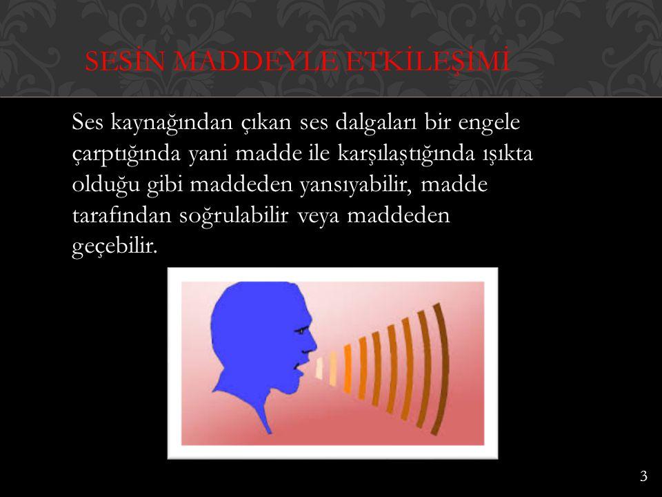 Ses kaynağından çıkan ses dalgaları bir engele çarptığında yani madde ile karşılaştığında ışıkta olduğu gibi maddeden yansıyabilir, madde tarafından s