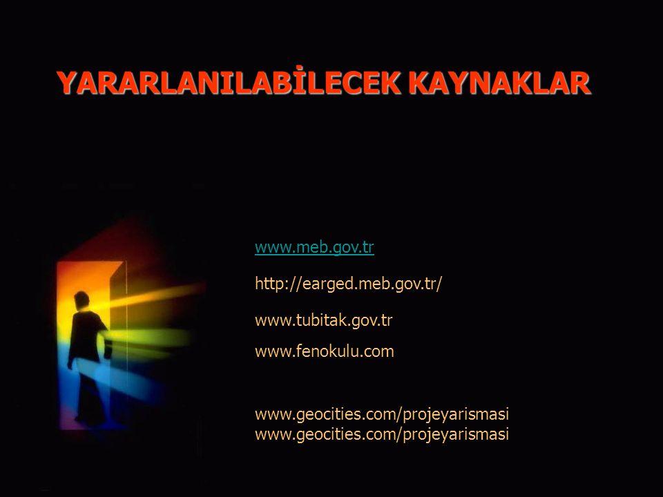 YARARLANILABİLECEK KAYNAKLAR www.tubitak.gov.tr www.fenokulu.com www.meb.gov.tr http://earged.meb.gov.tr/ www.geocities.com/projeyarismasi