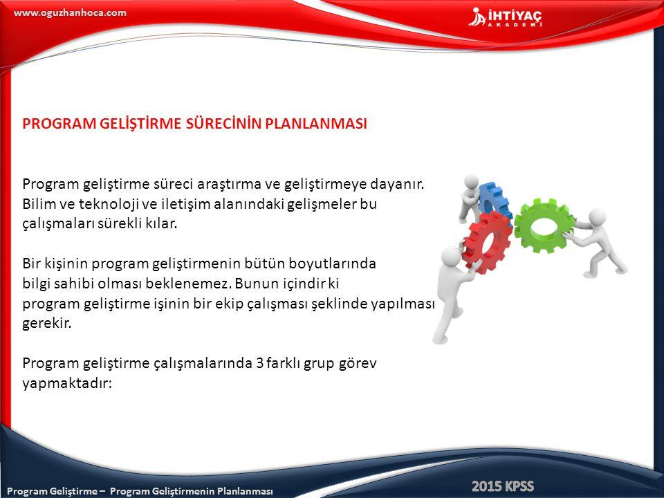Program Geliştirme – Program Geliştirmenin Planlanması www.oguzhanhoca.com PROGRAM GELİŞTİRME SÜRECİNİN PLANLANMASI Program geliştirme süreci araştırm