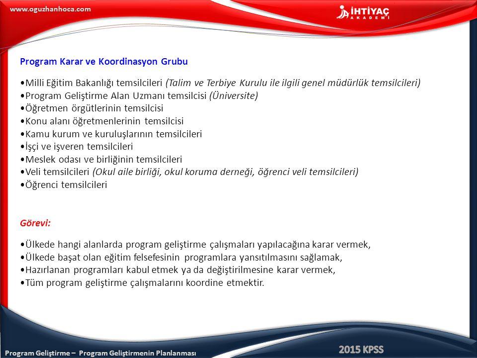 Program Geliştirme – Program Geliştirmenin Planlanması www.oguzhanhoca.com Program Karar ve Koordinasyon Grubu Milli Eğitim Bakanlığı temsilcileri (Ta