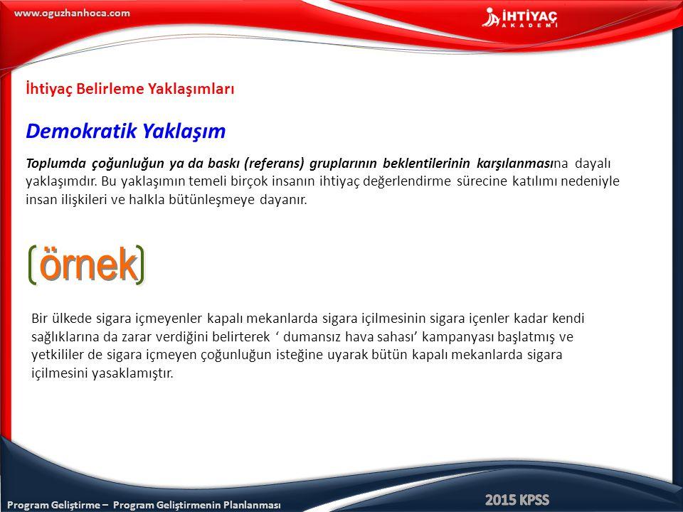 Program Geliştirme – Program Geliştirmenin Planlanması www.oguzhanhoca.com İhtiyaç Belirleme Yaklaşımları Demokratik Yaklaşım Toplumda çoğunluğun ya d