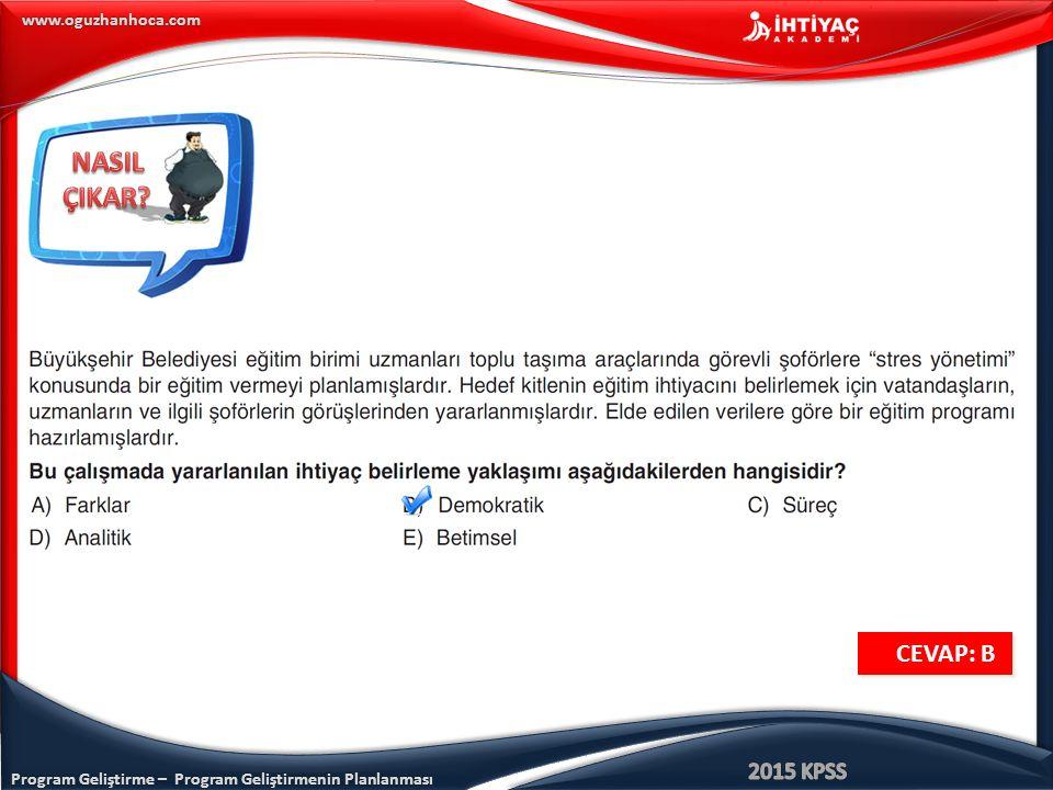 Program Geliştirme – Program Geliştirmenin Planlanması www.oguzhanhoca.com CEVAP: B