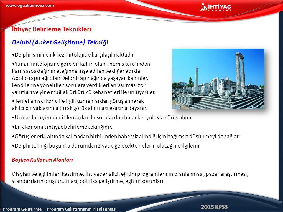 Program Geliştirme – Program Geliştirmenin Planlanması www.oguzhanhoca.com İhtiyaç Belirleme Teknikleri Delphi (Anket Geliştirme) Tekniği Delphi ismi