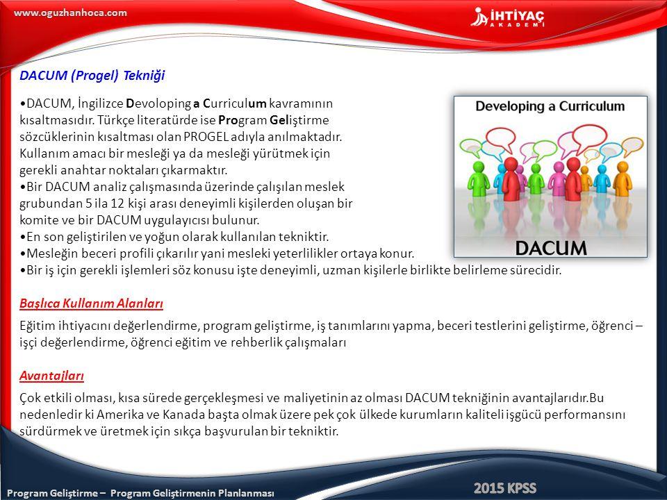 Program Geliştirme – Program Geliştirmenin Planlanması www.oguzhanhoca.com DACUM (Progel) Tekniği DACUM, İngilizce Devoloping a Curriculum kavramının