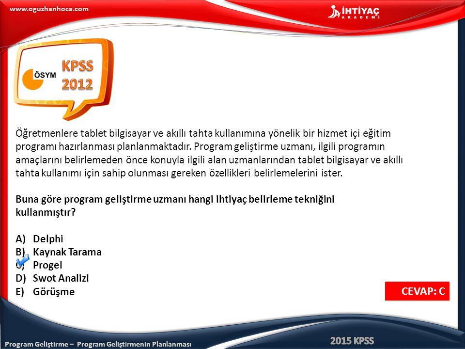 Program Geliştirme – Program Geliştirmenin Planlanması www.oguzhanhoca.com Öğretmenlere tablet bilgisayar ve akıllı tahta kullanımına yönelik bir hizm