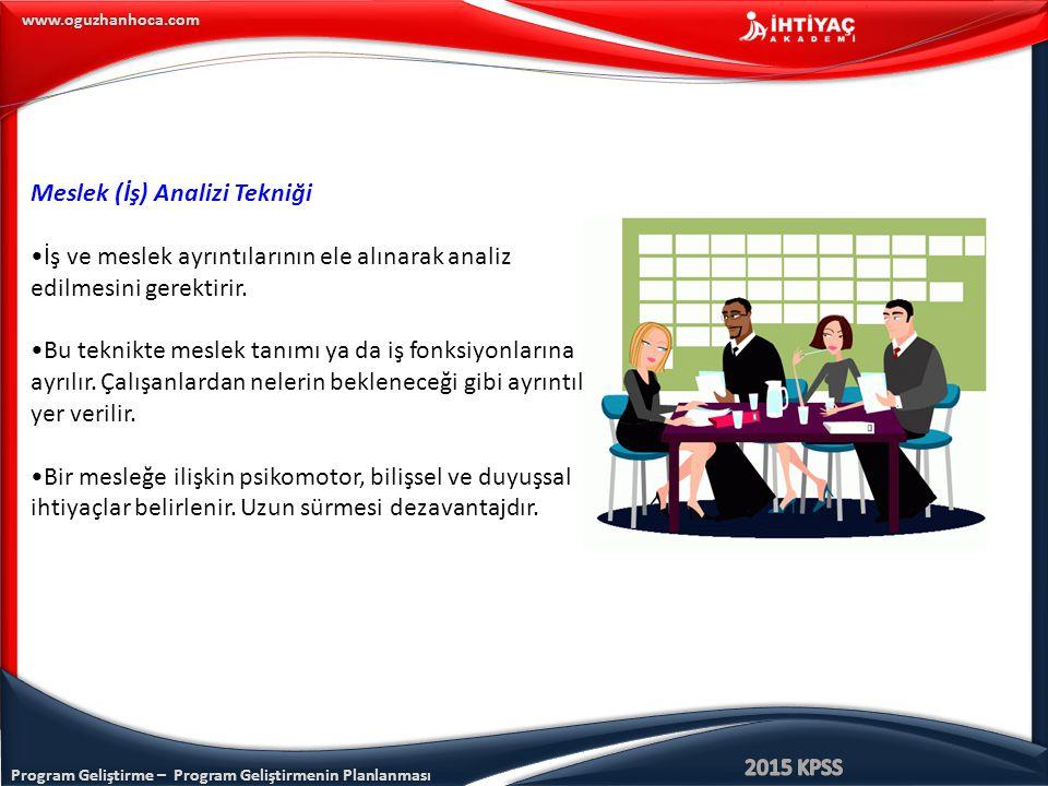Program Geliştirme – Program Geliştirmenin Planlanması www.oguzhanhoca.com Meslek (İş) Analizi Tekniği İş ve meslek ayrıntılarının ele alınarak analiz