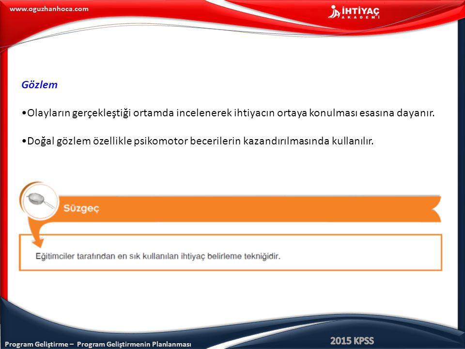 Program Geliştirme – Program Geliştirmenin Planlanması www.oguzhanhoca.com Gözlem Olayların gerçekleştiği ortamda incelenerek ihtiyacın ortaya konulma