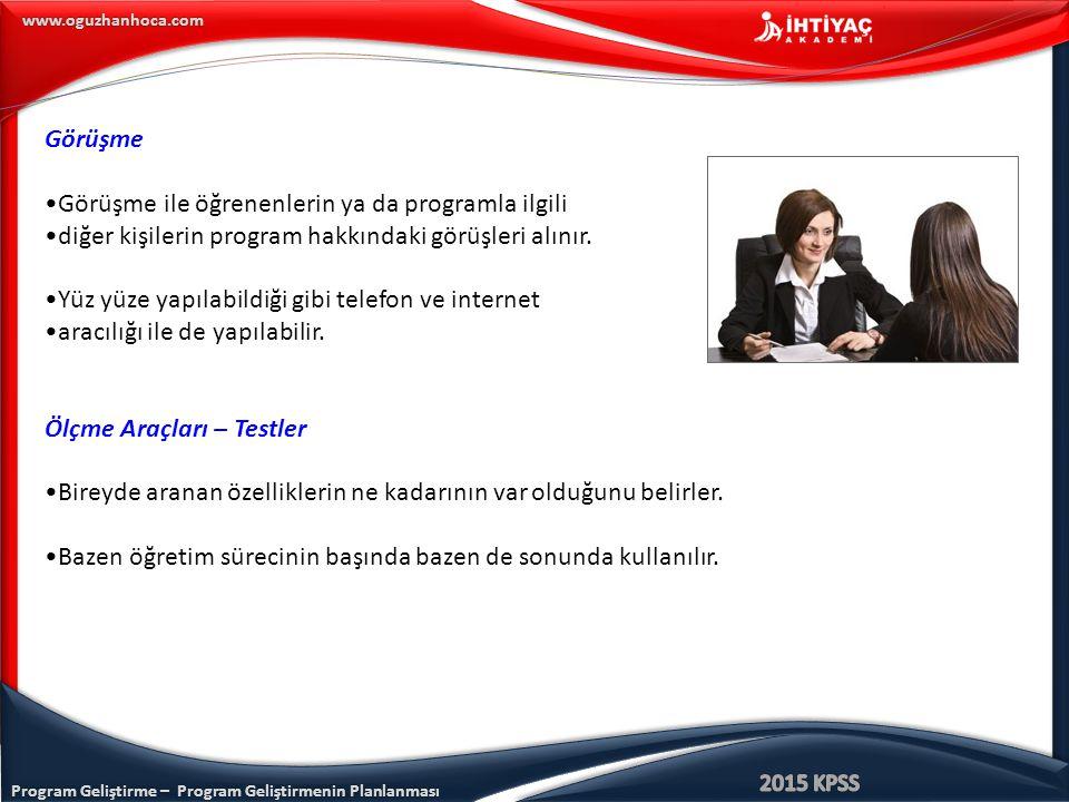 Program Geliştirme – Program Geliştirmenin Planlanması www.oguzhanhoca.com Görüşme Görüşme ile öğrenenlerin ya da programla ilgili diğer kişilerin pro