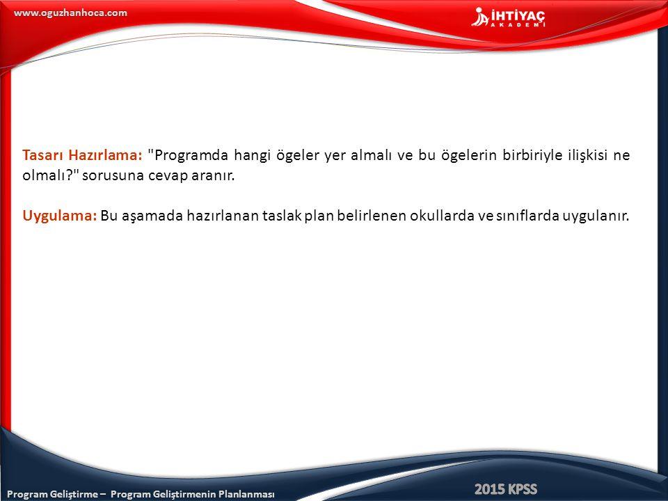 Program Geliştirme – Program Geliştirmenin Planlanması www.oguzhanhoca.com Tasarı Hazırlama: