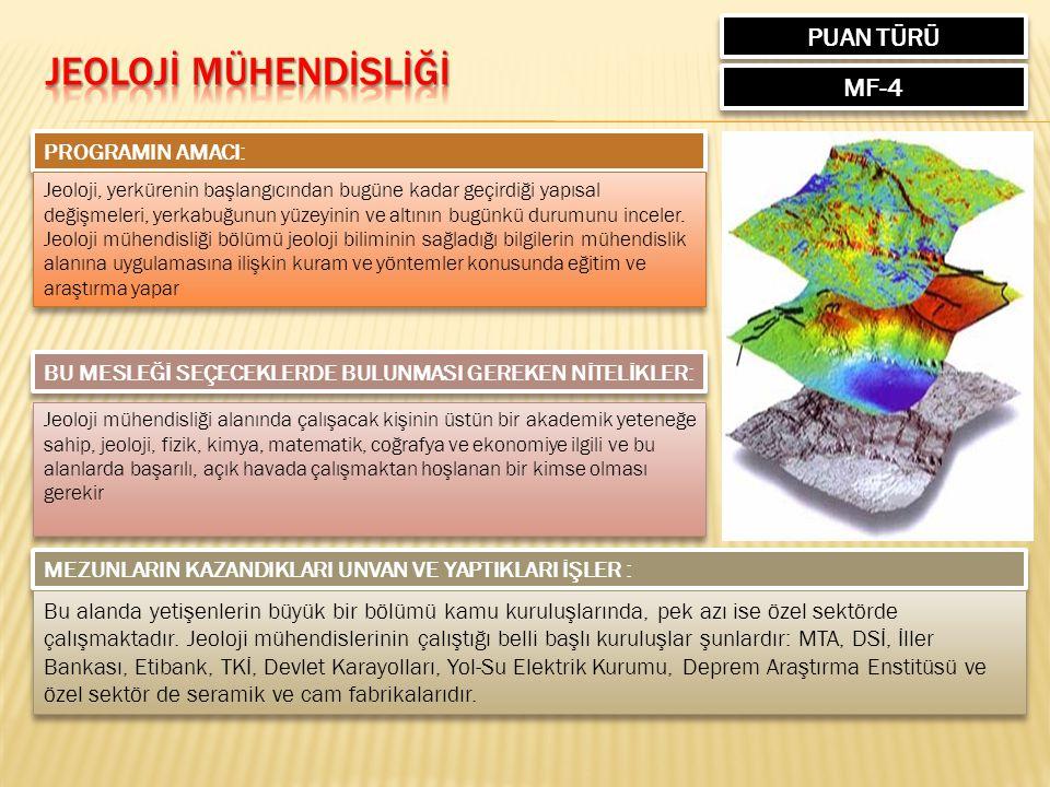 PUAN TÜRÜ MF-4 PROGRAMIN AMACI: Jeoloji, yerkürenin başlangıcından bugüne kadar geçirdiği yapısal değişmeleri, yerkabuğunun yüzeyinin ve altının bugünkü durumunu inceler.