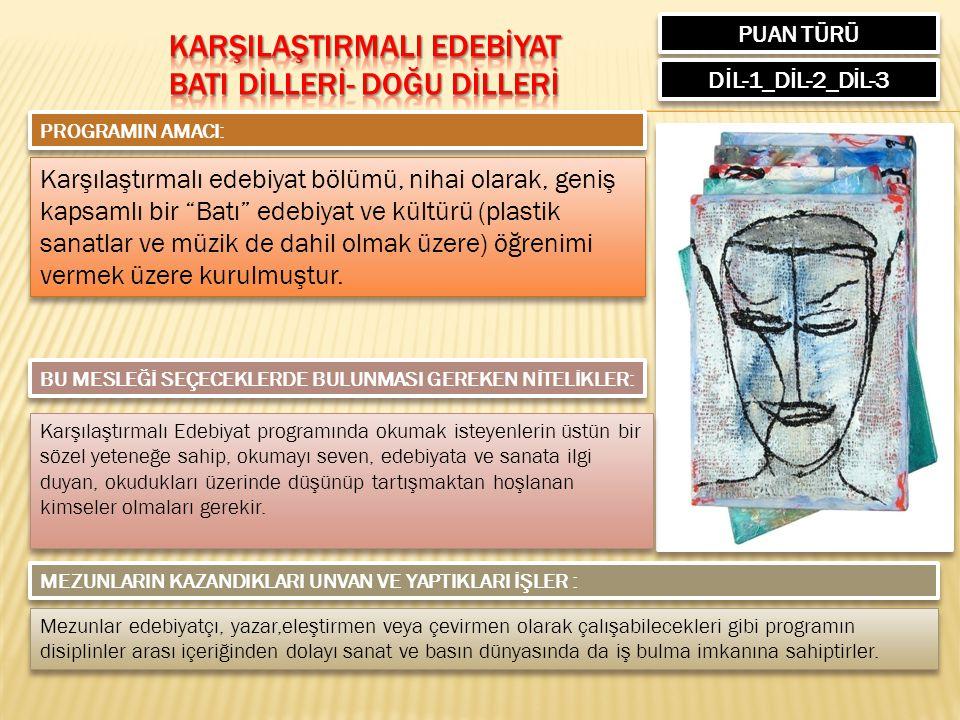 PUAN TÜRÜ DİL-1_DİL-2_DİL-3 PROGRAMIN AMACI: Karşılaştırmalı edebiyat bölümü, nihai olarak, geniş kapsamlı bir Batı edebiyat ve kültürü (plastik sanatlar ve müzik de dahil olmak üzere) öğrenimi vermek üzere kurulmuştur.