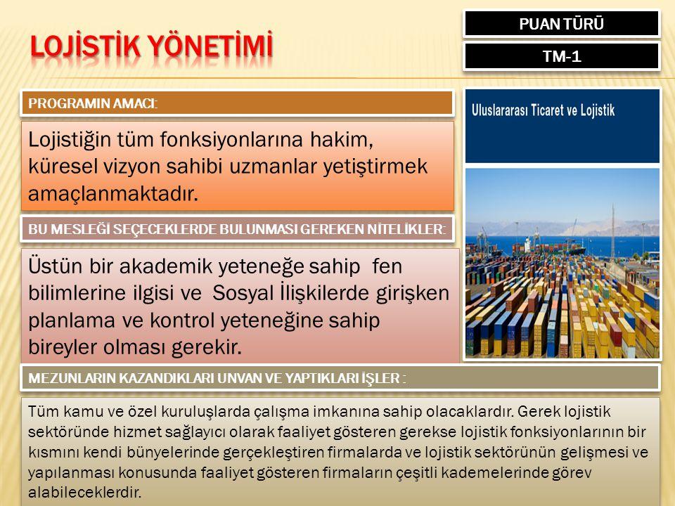 PUAN TÜRÜ TM-1 PROGRAMIN AMACI: Lojistiğin tüm fonksiyonlarına hakim, küresel vizyon sahibi uzmanlar yetiştirmek amaçlanmaktadır.