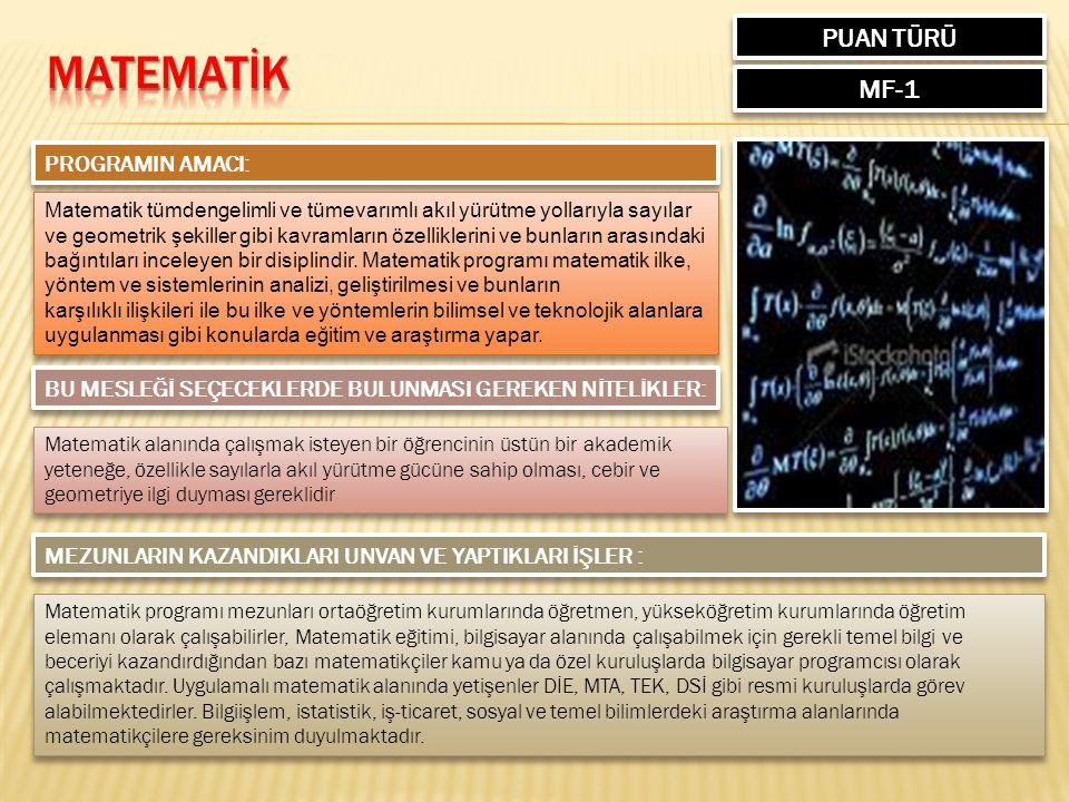 PUAN TÜRÜ MF-1 PROGRAMIN AMACI: Matematik tümdengelimli ve tümevarımlı akıl yürütme yollarıyla sayılar ve geometrik şekiller gibi kavramların özelliklerini ve bunların arasındaki bağıntıları inceleyen bir disiplindir.