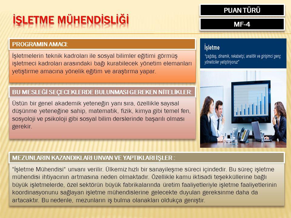 PUAN TÜRÜ MF-4 PROGRAMIN AMACI: İşletmelerin teknik kadroları ile sosyal bilimler eğitimi görmüş işletmeci kadroları arasındaki bağı kurabilecek yönetim elemanları yetiştirme amacına yönelik eğitim ve araştırma yapar.
