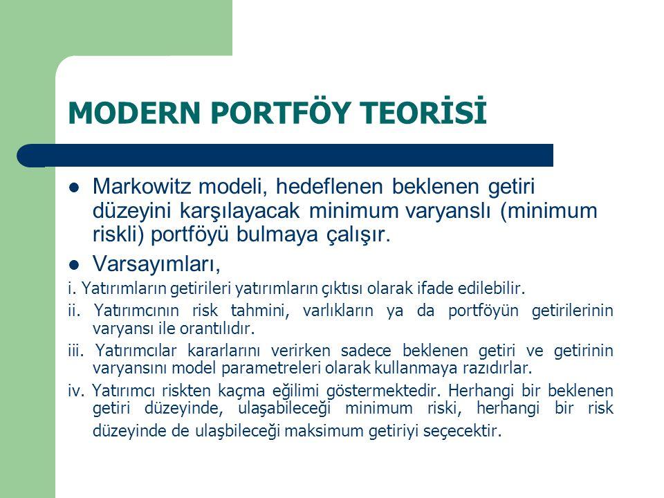 MODERN PORTFÖY TEORİSİ Markowitz modeli, hedeflenen beklenen getiri düzeyini karşılayacak minimum varyanslı (minimum riskli) portföyü bulmaya çalışır.