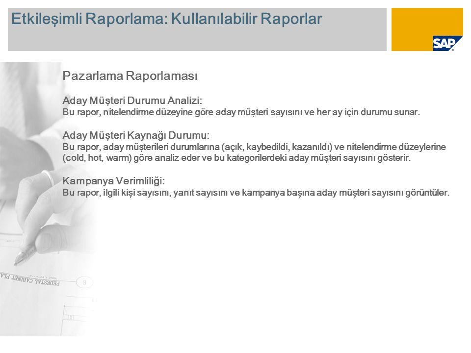 Etkileşimli Raporlama: Kullanılabilir Raporlar Pazarlama Raporlaması Aday Müşteri Durumu Analizi: Bu rapor, nitelendirme düzeyine göre aday müşteri sa