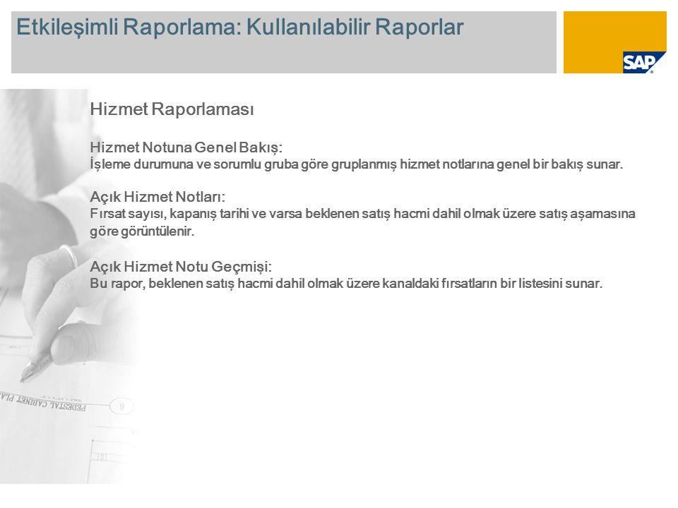 Etkileşimli Raporlama: Kullanılabilir Raporlar Hizmet Raporlaması Hizmet Notuna Genel Bakış: İşleme durumuna ve sorumlu gruba göre gruplanmış hizmet n
