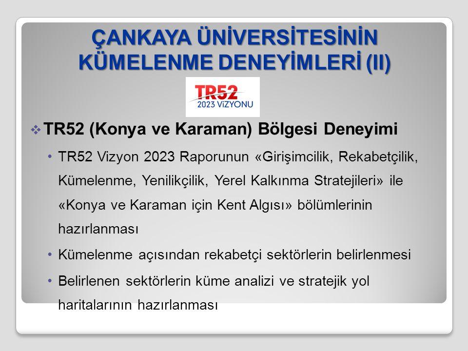 ÇANKAYA ÜNİVERSİTESİNİN KÜMELENME DENEYİMLERİ (II)  TR52 (Konya ve Karaman) Bölgesi Deneyimi TR52 Vizyon 2023 Raporunun «Girişimcilik, Rekabetçilik,