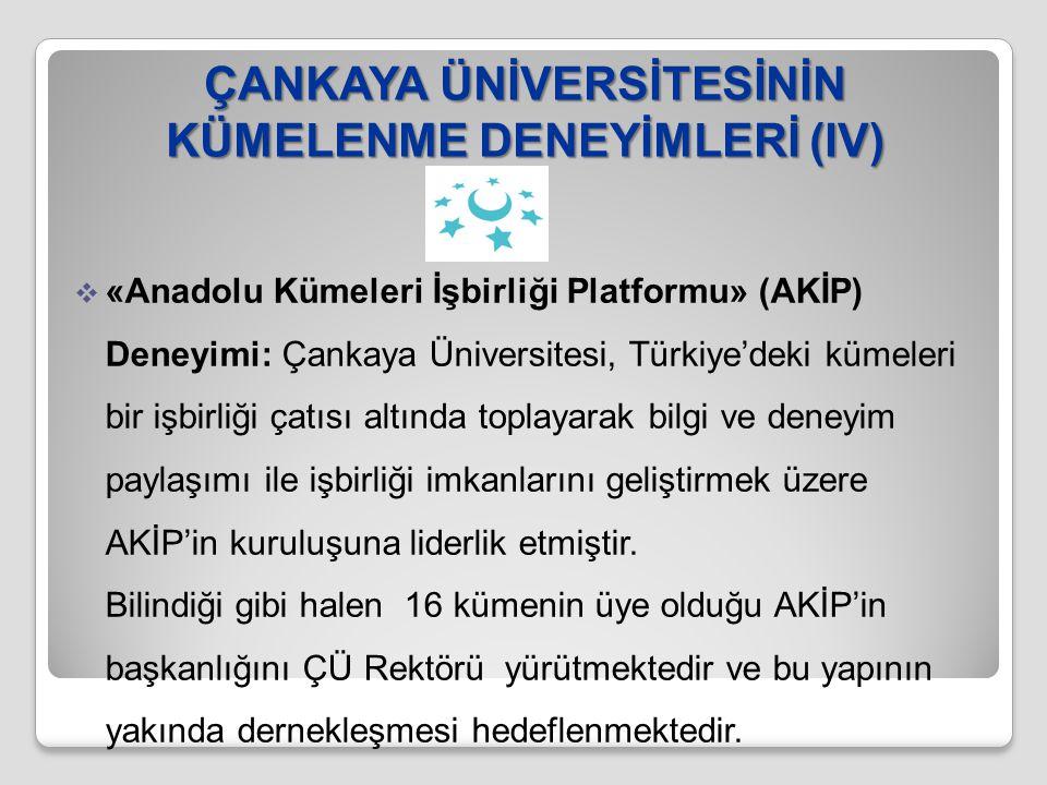 ÇANKAYA ÜNİVERSİTESİNİN KÜMELENME DENEYİMLERİ (IV)  «Anadolu Kümeleri İşbirliği Platformu» (AKİP) Deneyimi: Çankaya Üniversitesi, Türkiye'deki kümele