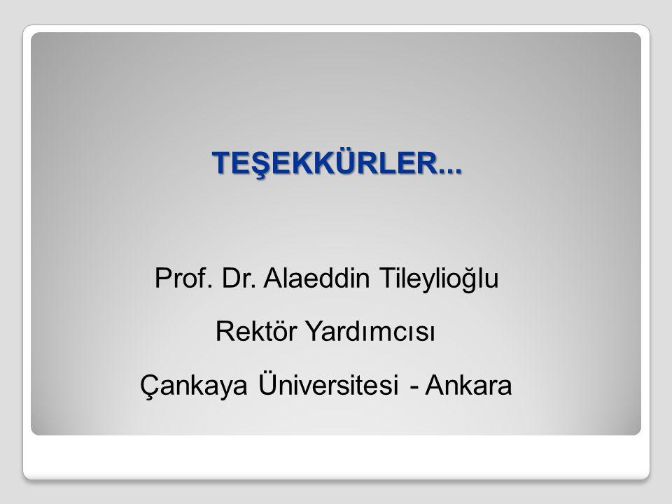 TEŞEKKÜRLER... Prof. Dr. Alaeddin Tileylioğlu Rektör Yardımcısı Çankaya Üniversitesi - Ankara