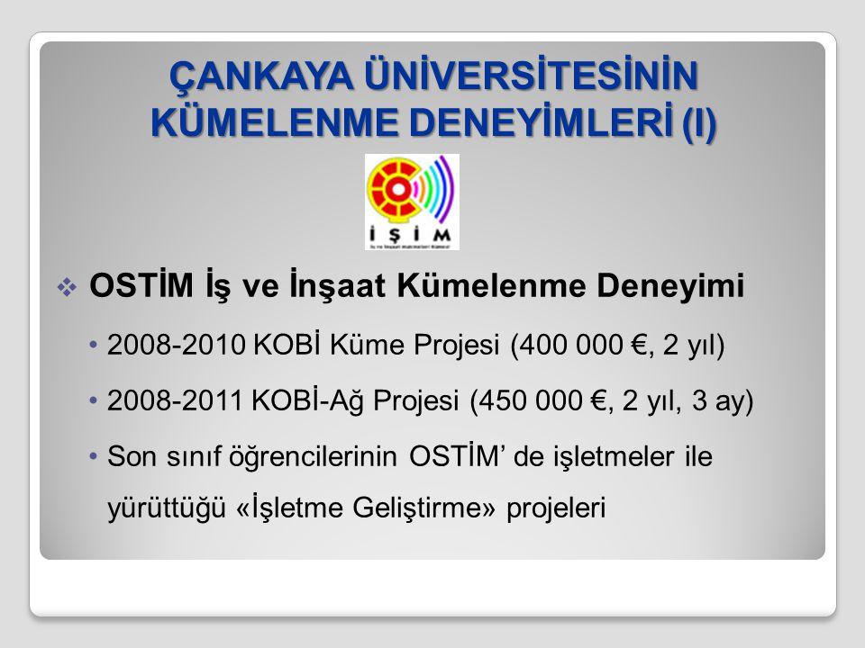 ÇANKAYA ÜNİVERSİTESİNİN KÜMELENME DENEYİMLERİ (I)  OSTİM İş ve İnşaat Kümelenme Deneyimi 2008-2010 KOBİ Küme Projesi (400 000 €, 2 yıl) 2008-2011 KOB