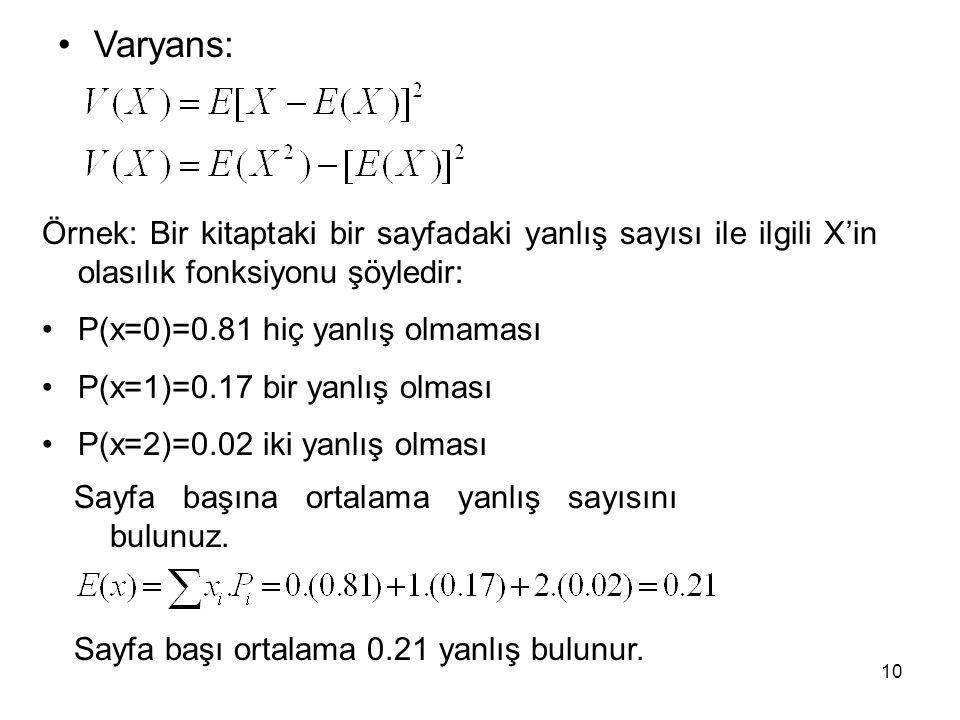 Varyans: Örnek: Bir kitaptaki bir sayfadaki yanlış sayısı ile ilgili X'in olasılık fonksiyonu şöyledir: P(x=0)=0.81 hiç yanlış olmaması P(x=1)=0.17 bi