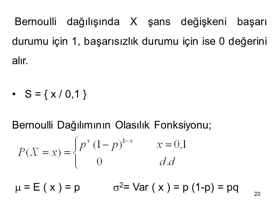 Bernoulli dağılışında X şans değişkeni başarı durumu için 1, başarısızlık durumu için ise 0 değerini alır. S = { x / 0,1 } Bernoulli Dağılımının Olası