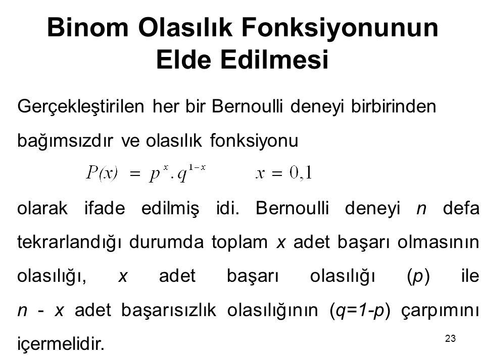 Binom Olasılık Fonksiyonunun Elde Edilmesi Gerçekleştirilen her bir Bernoulli deneyi birbirinden bağımsızdır ve olasılık fonksiyonu olarak ifade edilm