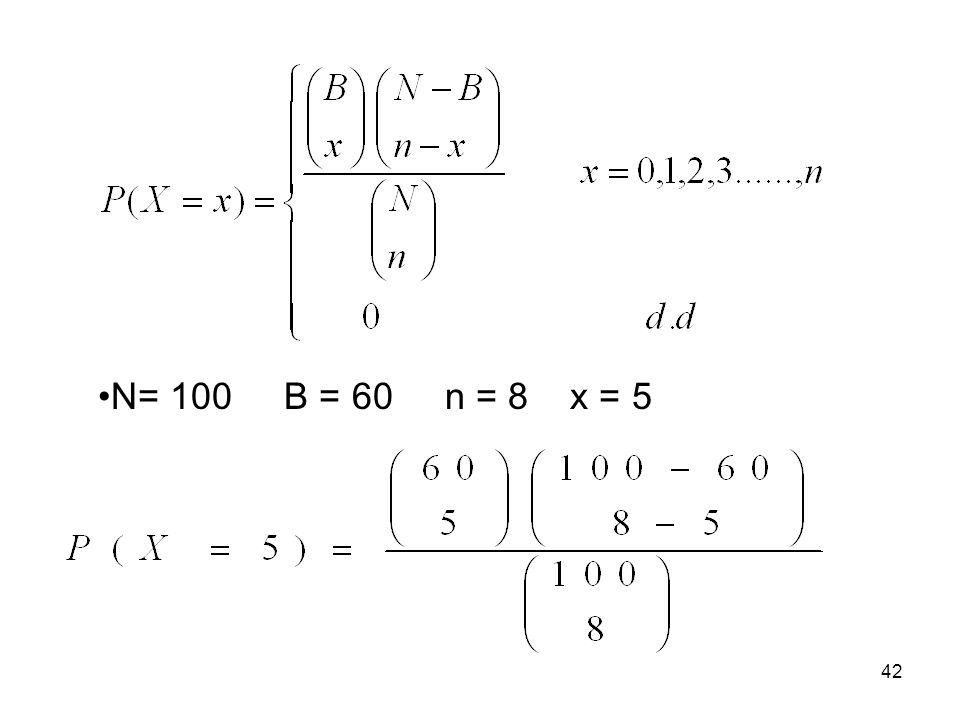 N= 100 B = 60 n = 8 x = 5 42