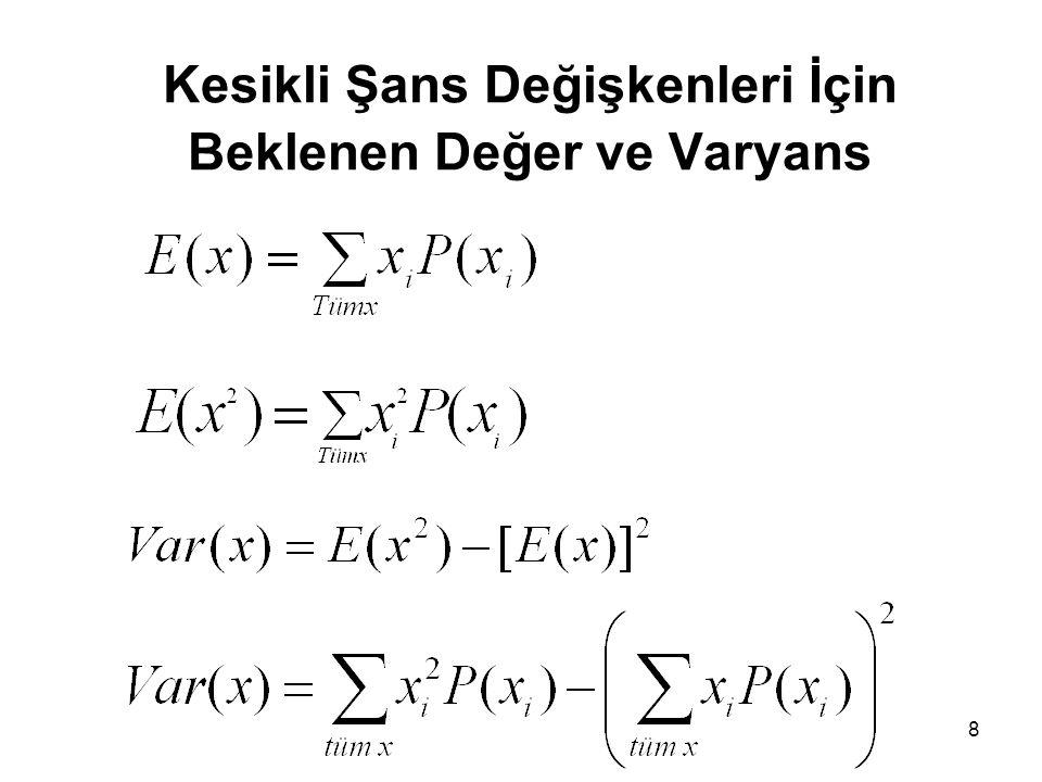 Kesikli şans değişkeninin beklenen değer ve varyansı ile ilgili bir örnek Beklenen değer: X=x f(x) 11/6 21/6 31/6 41/6 51/6 1 Bir zar atılıyor.