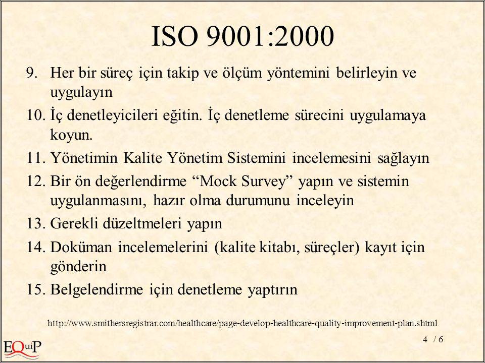 / 64 ISO 9001:2000 9.Her bir süreç için takip ve ölçüm yöntemini belirleyin ve uygulayın 10.İç denetleyicileri eğitin.