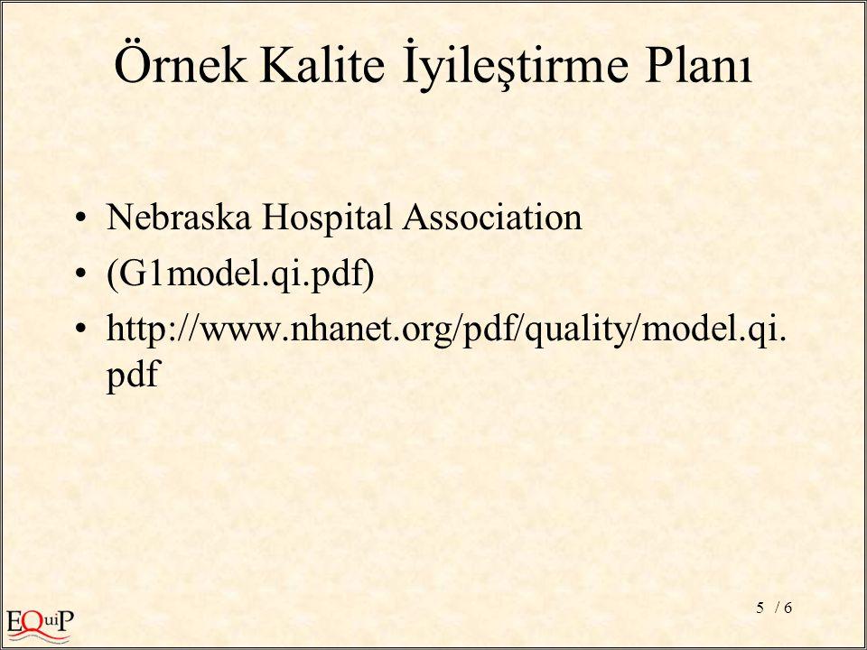 / 65 Örnek Kalite İyileştirme Planı Nebraska Hospital Association (G1model.qi.pdf) http://www.nhanet.org/pdf/quality/model.qi.
