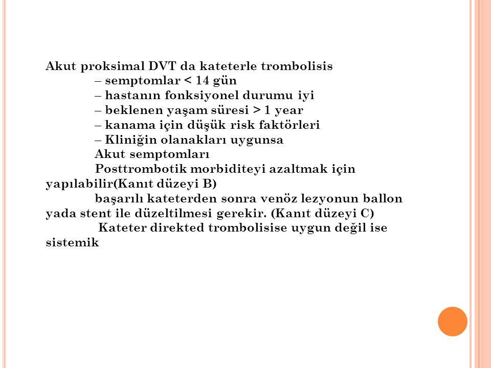 Akut proksimal DVT da kateterle trombolisis – semptomlar < 14 gün – hastanın fonksiyonel durumu iyi – beklenen yaşam süresi > 1 year – kanama için düşük risk faktörleri – Kliniğin olanakları uygunsa Akut semptomları Posttrombotik morbiditeyi azaltmak için yapılabilir(Kanıt düzeyi B) başarılı kateterden sonra venöz lezyonun ballon yada stent ile düzeltilmesi gerekir.