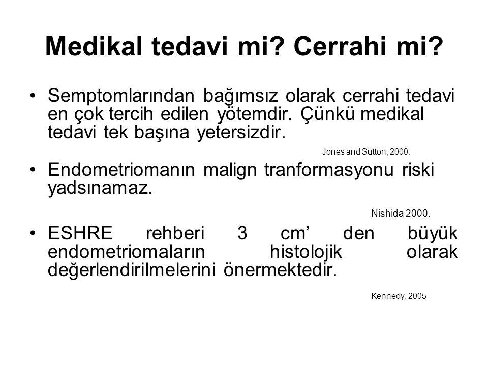 IVF Planlanan Endometriomalı Hastalarda Endometriomanın Çıkarılıp Çıkarılmamasında Kararı Etkileyen Kriterler CerrahiBekleme Geçirilmiş endometriosis opyok≥ 1 Ovarian rezervintaktazalmış Ağrıvaryok monolat.- bilateralmonolateralbilateral USG de malignite şüphesivaryok Büyüme hızıhızlıstabil Garcia-Velasco JA and Somigliana E: Hum Reprod 2009.
