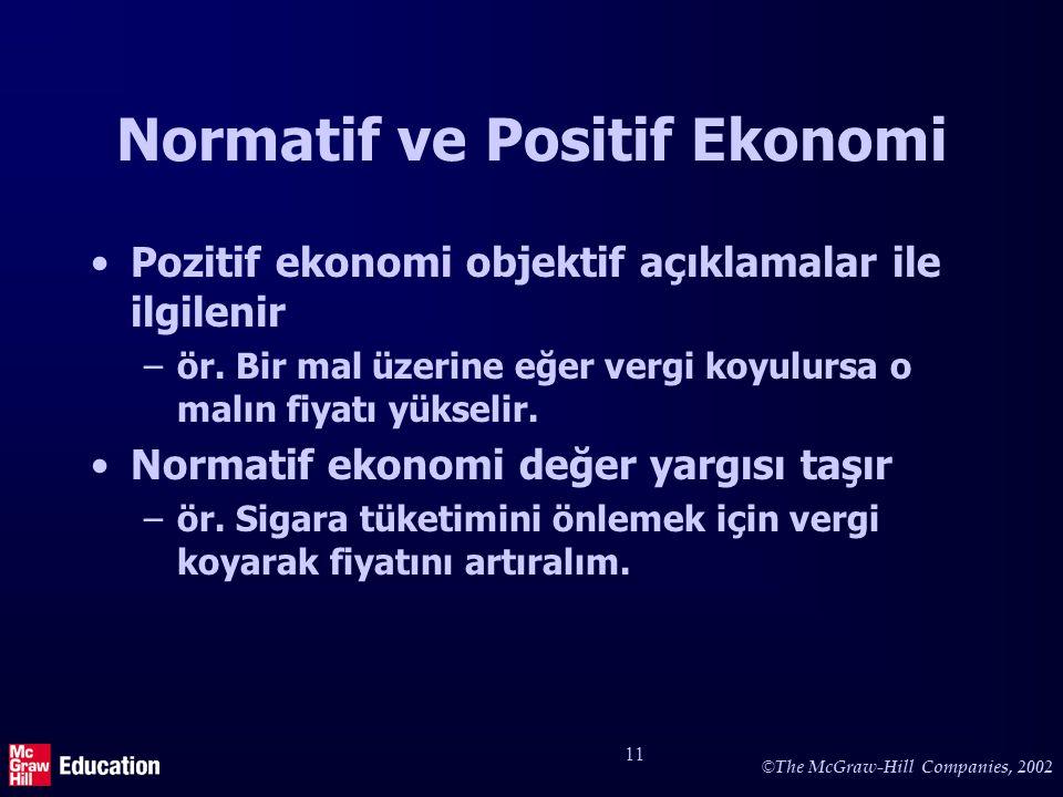 © The McGraw-Hill Companies, 2002 11 Normatif ve Positif Ekonomi Pozitif ekonomi objektif açıklamalar ile ilgilenir –ör. Bir mal üzerine eğer vergi ko