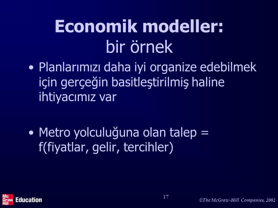 © The McGraw-Hill Companies, 2002 17 Economik modeller: bir örnek Planlarımızı daha iyi organize edebilmek için gerçeğin basitleştirilmiş haline ihtiy