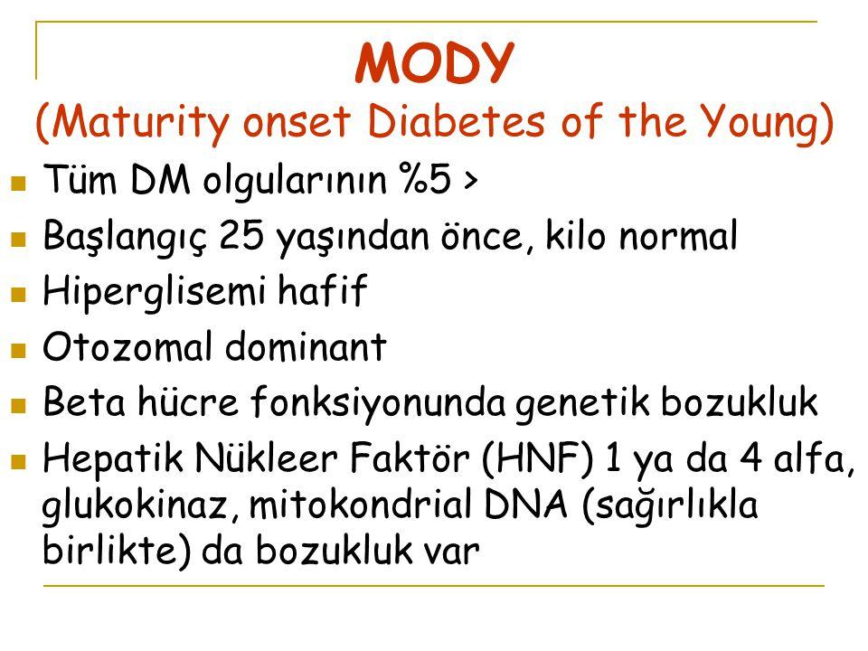MODY (Maturity onset Diabetes of the Young) Tüm DM olgularının %5 > Başlangıç 25 yaşından önce, kilo normal Hiperglisemi hafif Otozomal dominant Beta hücre fonksiyonunda genetik bozukluk Hepatik Nükleer Faktör (HNF) 1 ya da 4 alfa, glukokinaz, mitokondrial DNA (sağırlıkla birlikte) da bozukluk var