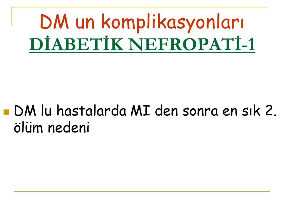 DM un komplikasyonları DİABETİK NEFROPATİ-1 DM lu hastalarda MI den sonra en sık 2. ölüm nedeni