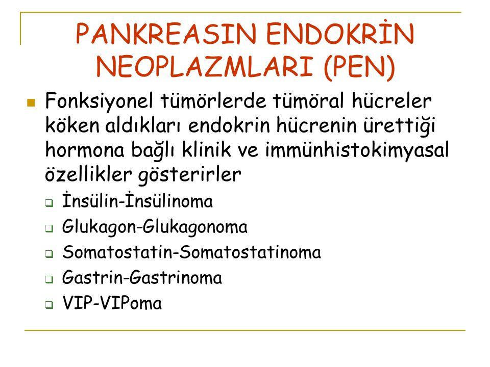 PANKREASIN ENDOKRİN NEOPLAZMLARI (PEN) Fonksiyonel tümörlerde tümöral hücreler köken aldıkları endokrin hücrenin ürettiği hormona bağlı klinik ve immünhistokimyasal özellikler gösterirler  İnsülin-İnsülinoma  Glukagon-Glukagonoma  Somatostatin-Somatostatinoma  Gastrin-Gastrinoma  VIP-VIPoma
