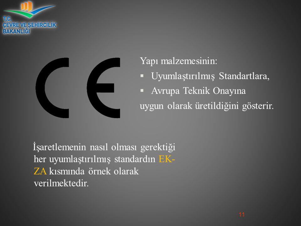 Yapı malzemesinin:  Uyumlaştırılmış Standartlara,  Avrupa Teknik Onayına uygun olarak üretildiğini gösterir.