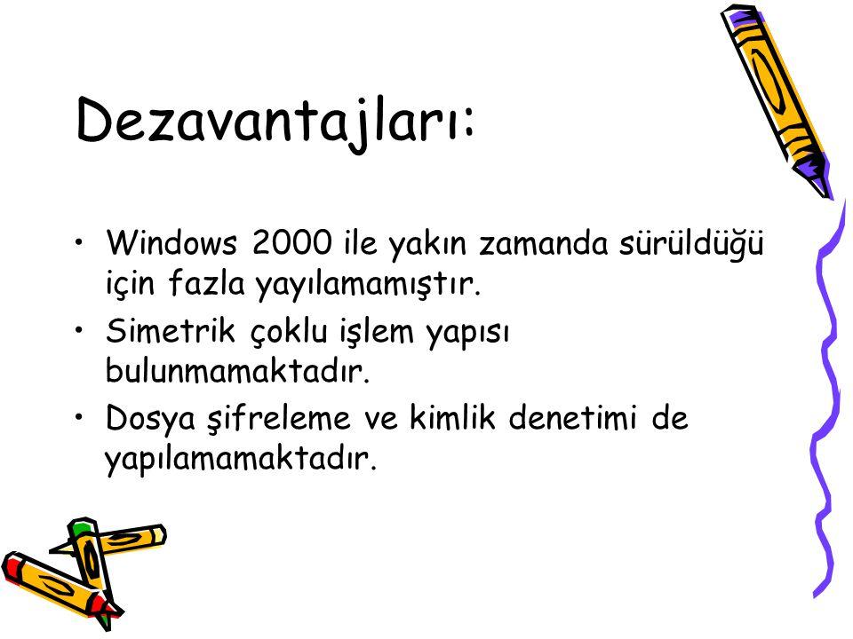 Dezavantajları: Windows 2000 ile yakın zamanda sürüldüğü için fazla yayılamamıştır. Simetrik çoklu işlem yapısı bulunmamaktadır. Dosya şifreleme ve ki