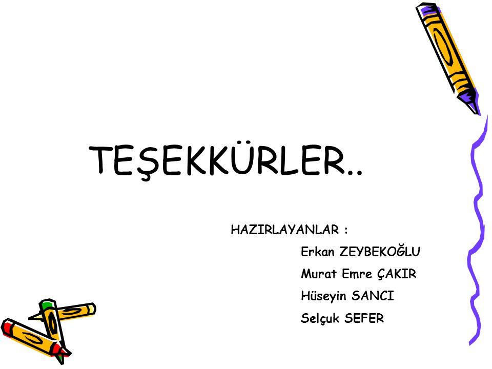 TEŞEKKÜRLER.. HAZIRLAYANLAR : Erkan ZEYBEKOĞLU Murat Emre ÇAKIR Hüseyin SANCI Selçuk SEFER