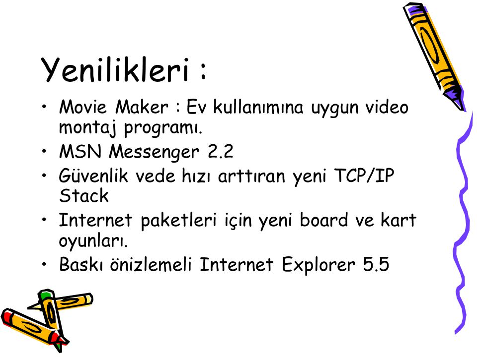Yenilikleri : Movie Maker : Ev kullanımına uygun video montaj programı. MSN Messenger 2.2 Güvenlik vede hızı arttıran yeni TCP/IP Stack Internet paket