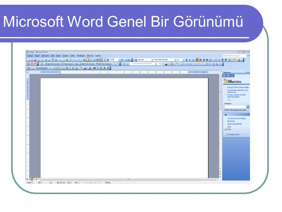Microsoft Word Genel Bir Görünümü