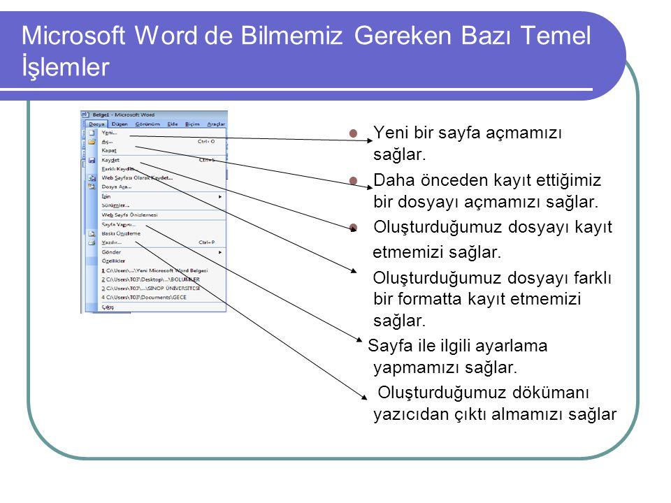 Microsoft Word de Bilmemiz Gereken Bazı Temel İşlemler Yeni bir sayfa açmamızı sağlar. Daha önceden kayıt ettiğimiz bir dosyayı açmamızı sağlar. Oluşt
