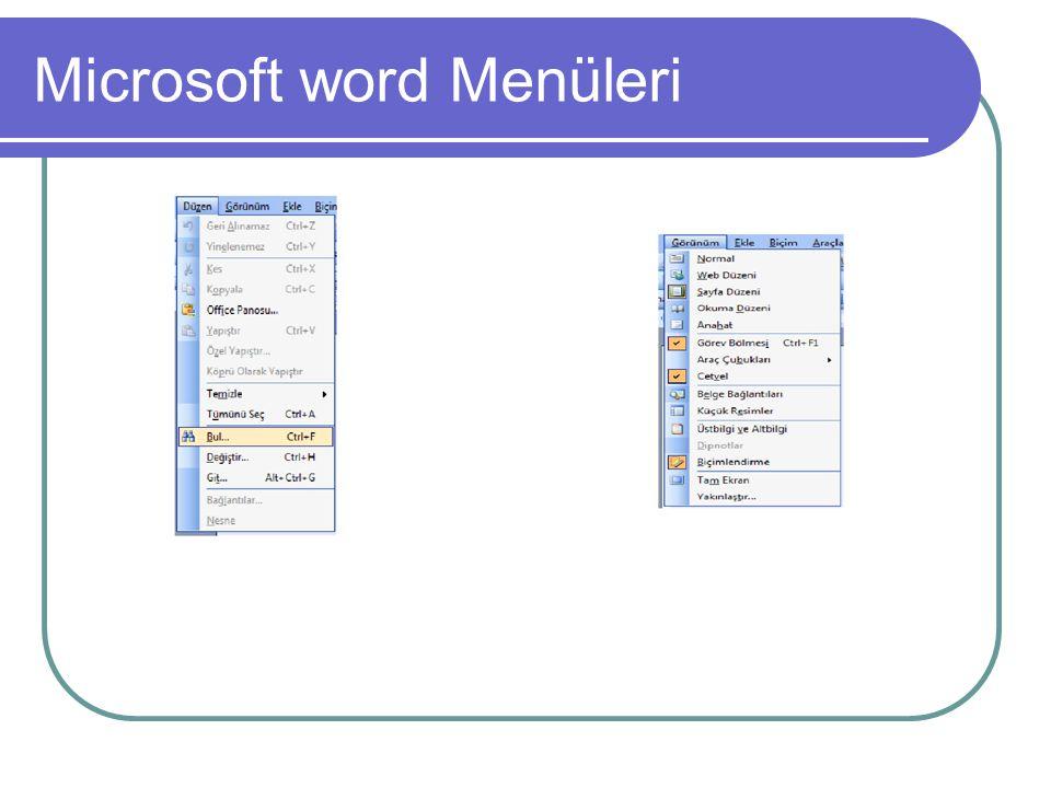 Microsoft word Menüleri