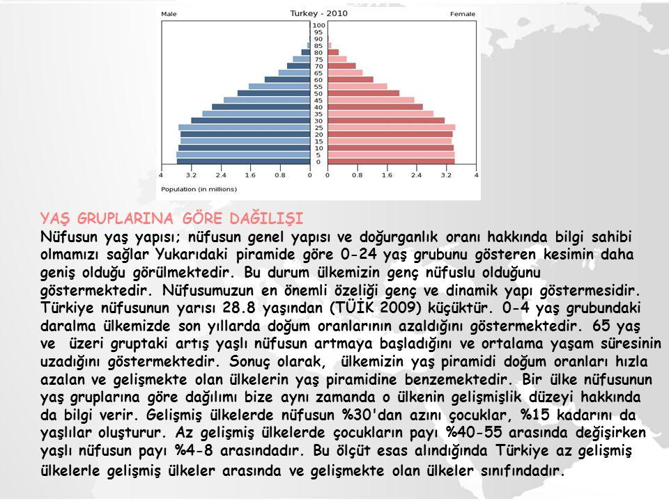 YAŞ GRUPLARINA GÖRE DAĞILIŞI Nüfusun yaş yapısı; nüfusun genel yapısı ve doğurganlık oranı hakkında bilgi sahibi olmamızı sağlar Yukarıdaki piramide g