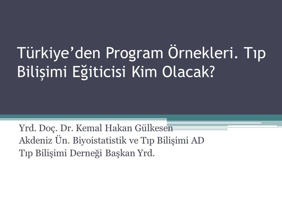 Türkiye'den Program Örnekleri. Tıp Bilişimi Eğiticisi Kim Olacak? Yrd. Doç. Dr. Kemal Hakan Gülkesen Akdeniz Ün. Biyoistatistik ve Tıp Bilişimi AD Tıp