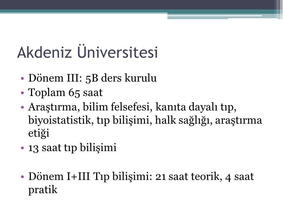 Akdeniz Üniversitesi Dönem III: 5B ders kurulu Toplam 65 saat Araştırma, bilim felsefesi, kanıta dayalı tıp, biyoistatistik, tıp bilişimi, halk sağlığ