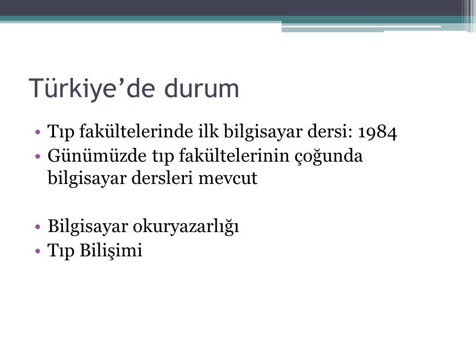 Türkiye'de durum Tıp fakültelerinde ilk bilgisayar dersi: 1984 Günümüzde tıp fakültelerinin çoğunda bilgisayar dersleri mevcut Bilgisayar okuryazarlığ